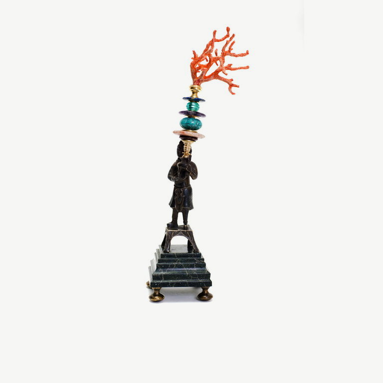 Chinese guard, iron, coral - 38 cm