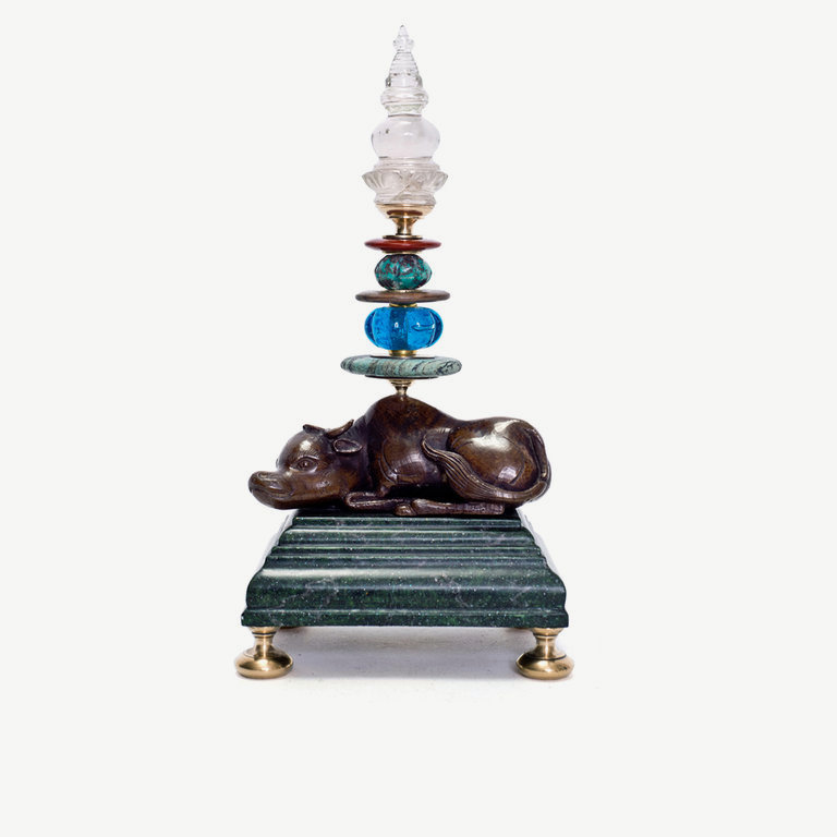 Cow, bronze, rock cristal pagoda - 23 cm