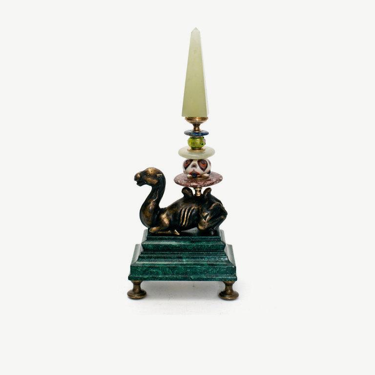 Camel, bronze, green agate obelisk - 22cm