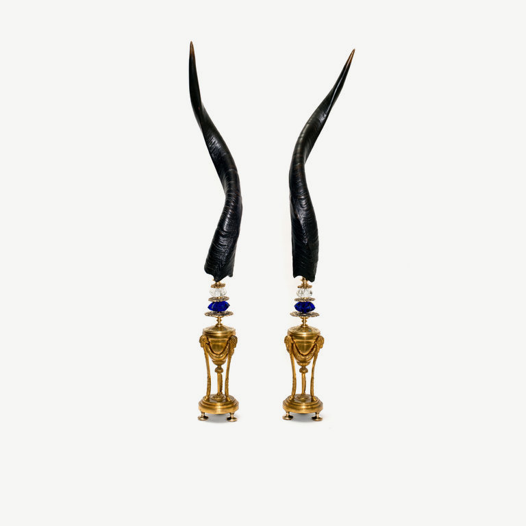 Nyala (Pair) horns, empire vases - 60 cm