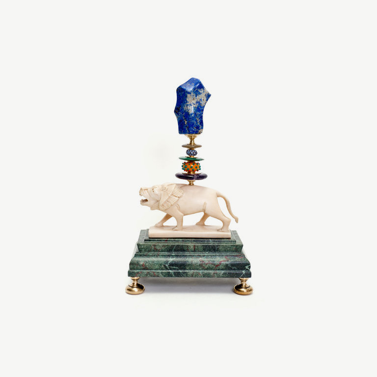 Lion, Art Déco, Muranoglasbead, Lapislazuli - 34cm