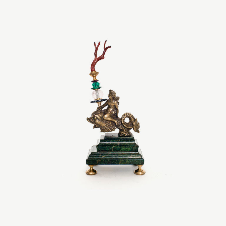Boy, bronze, sitting on a dolphin, sicilian coral - 25 cm