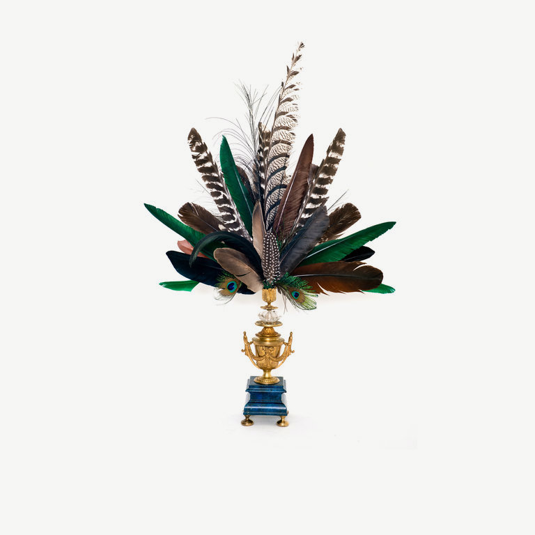 Feathercrown, green feathers, brone vase, firegilded - 74 cm