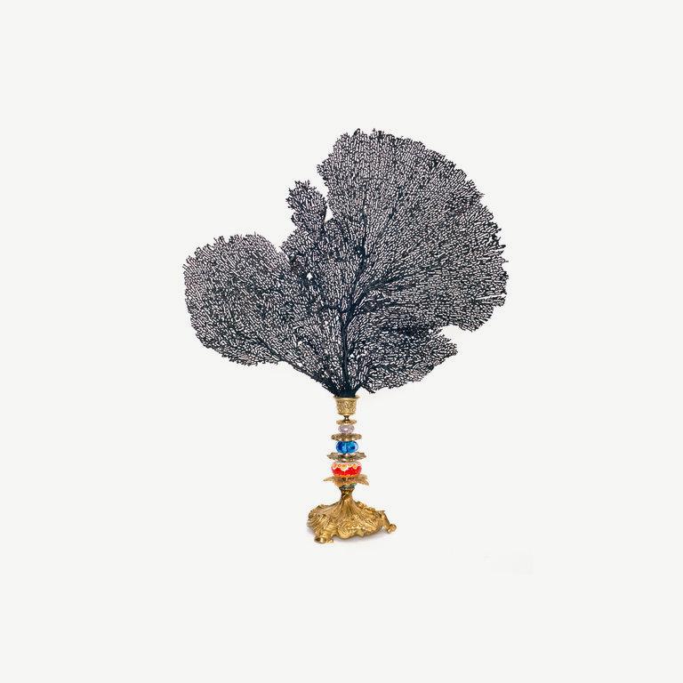 Gorgonia, Muranoglasspearls, Bronzebase - 50cm