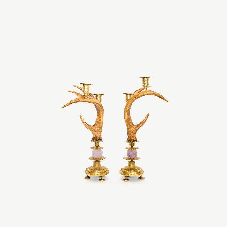 Antler chandeliers, amethyst pearls - 43cm