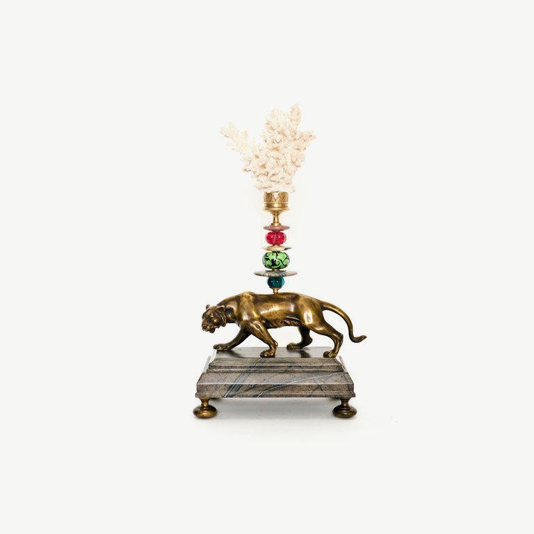Tiger, murano glass pearl, white top - 36cm