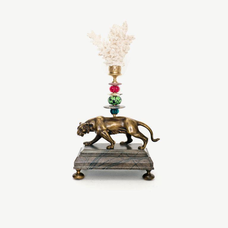 Lion, white top, murano glass pearl - 37cm