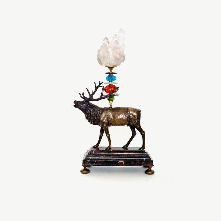 Deer, irregular rock cristal top - 43 cm