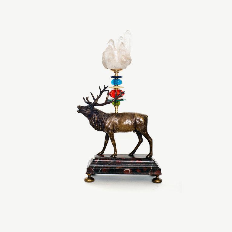 Deer, irregular rock cristal top - 43cm
