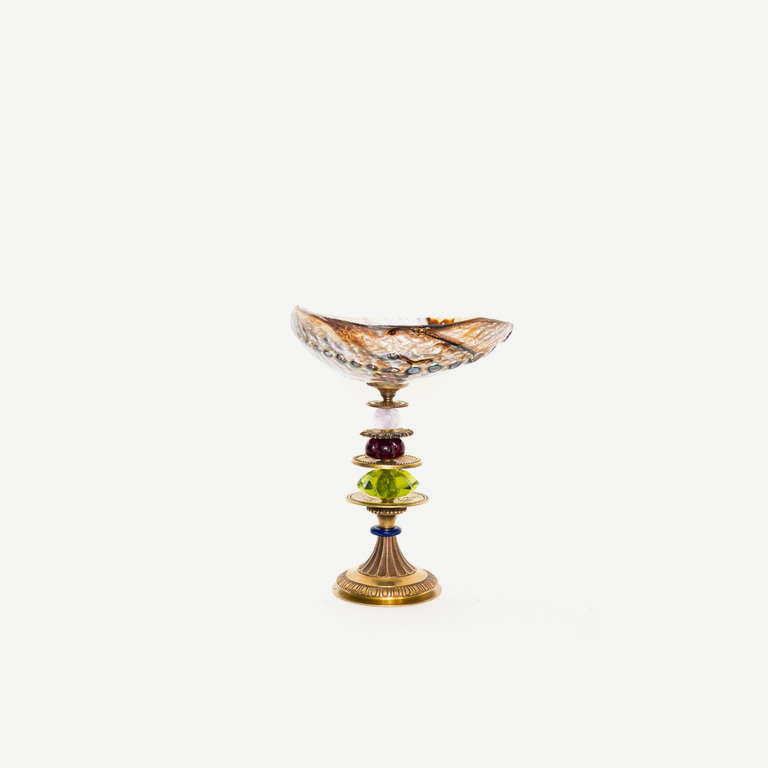 Pearlshell, antique bronze plint - 20 cm