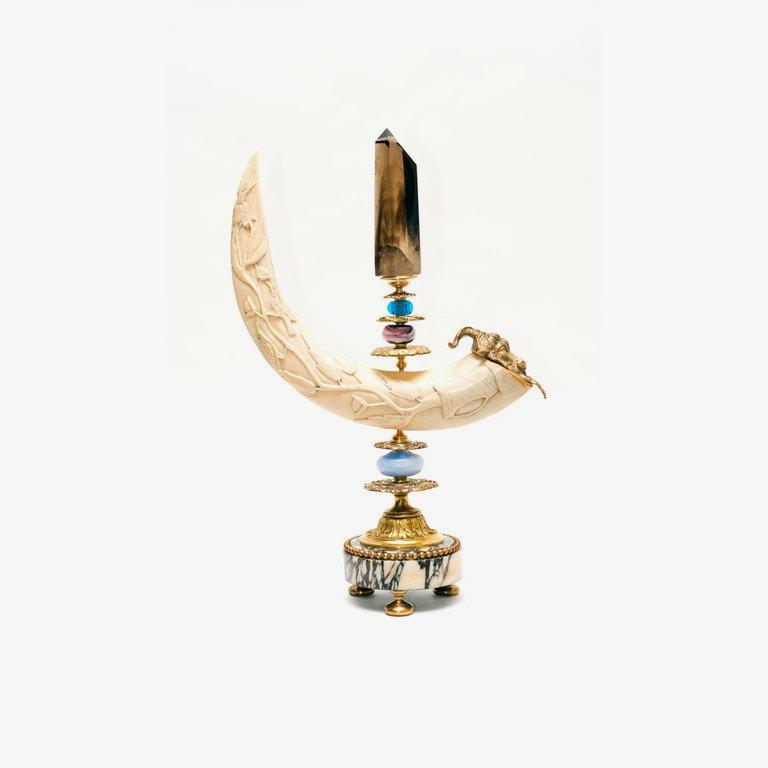 Hippopotamus, tooth, shaped, smoke cristal obelisk - 43cm