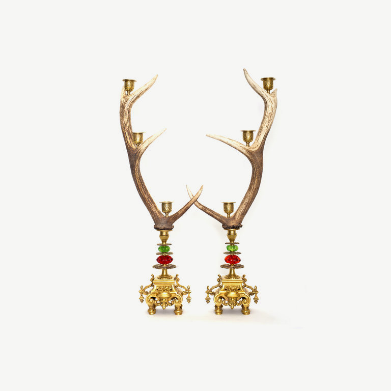 Pair of deer antler chandeliers, antique bronze plints - 65 cm