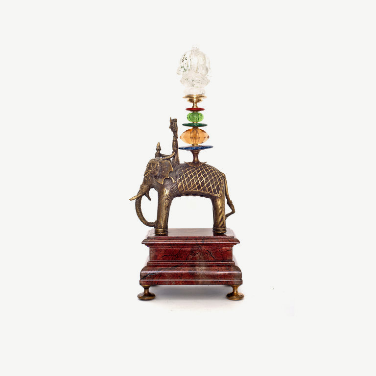 Elefant with mahut, rock cristal pagoda - 42 cm