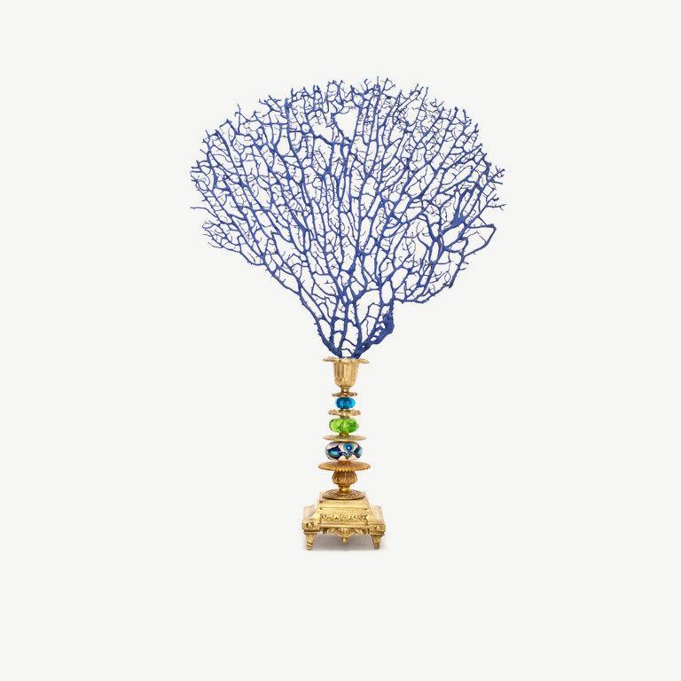 Gorgonia, blue painted, muranoglas pearl - 45cm