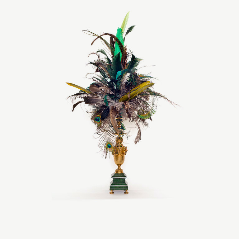 Feathercrown, green, black goose and peacock feathers - 80 cm