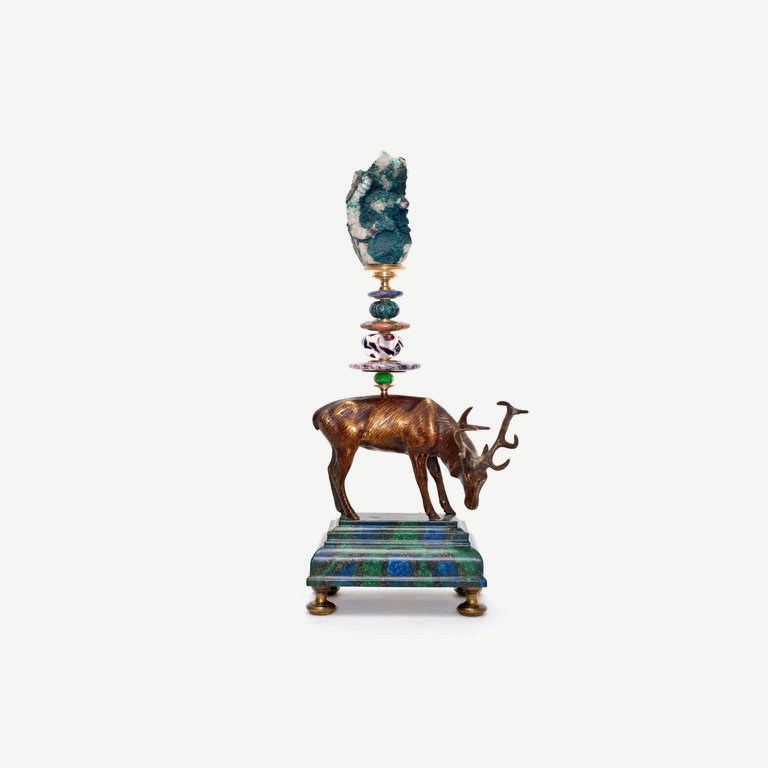 Deer, bronze, turquoise and murano glass pearl - 32 cm