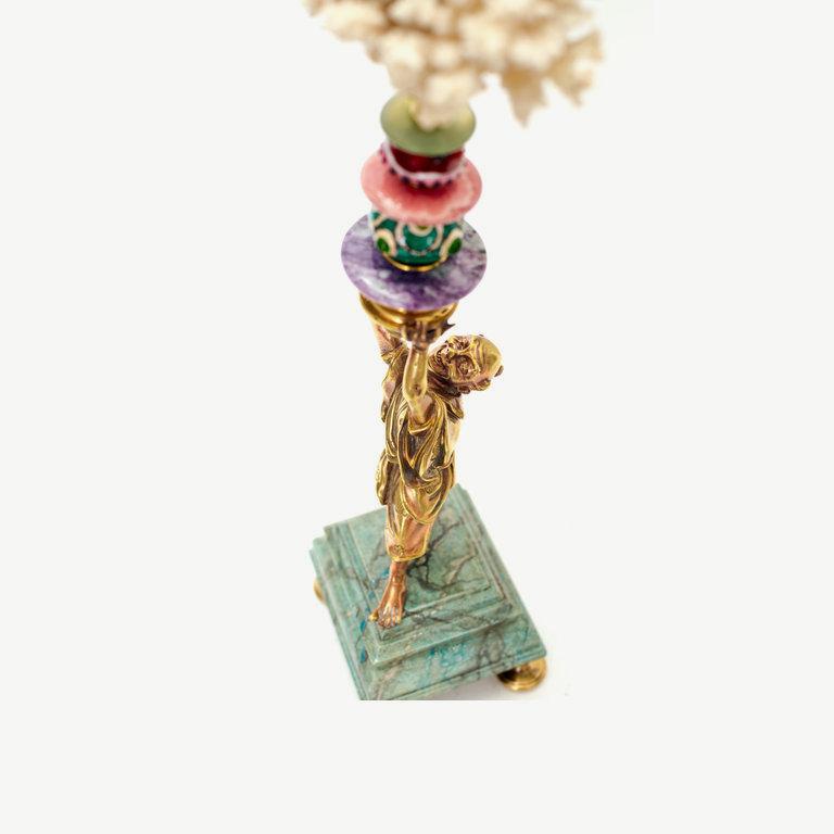 Monch, bronze Murano glass pearls - 42cm