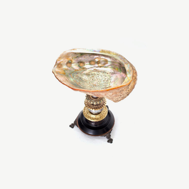 Shell, black marble base, clear glass pearl - 25cm