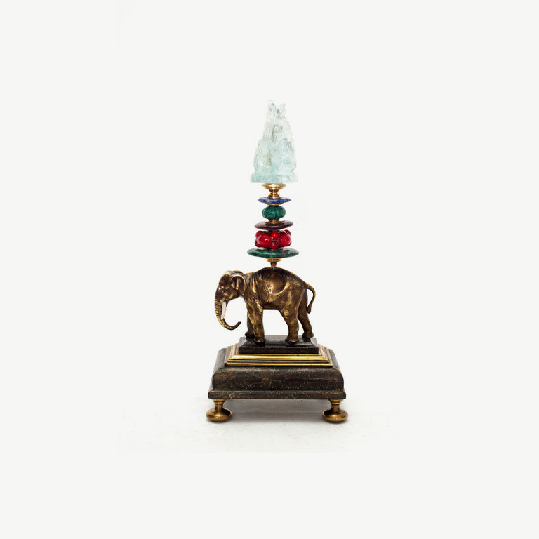 Small nice elephant, bronze, agate top, murano glass -, turquoise pearl - 25cm