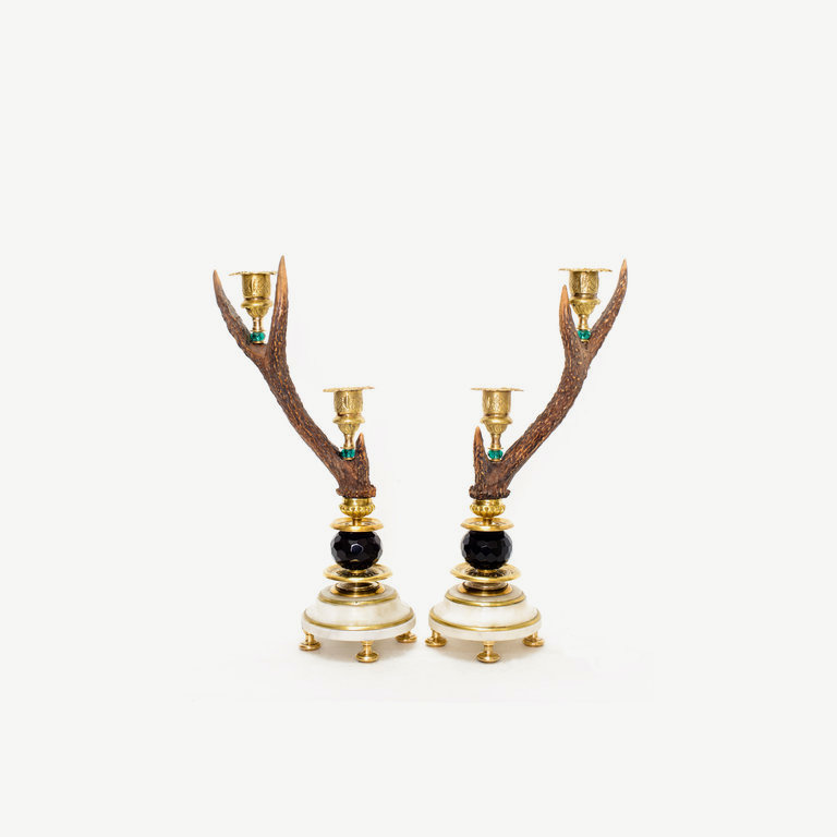 Pair of rebock horns with candle sticks