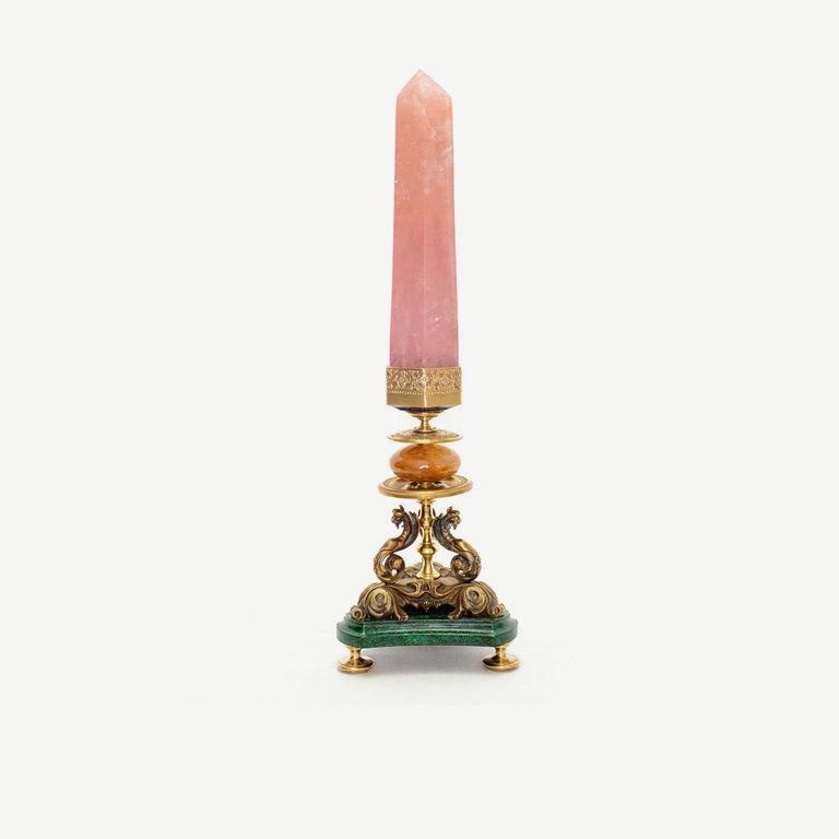 Rosequartz with antique bronze base - 55cm