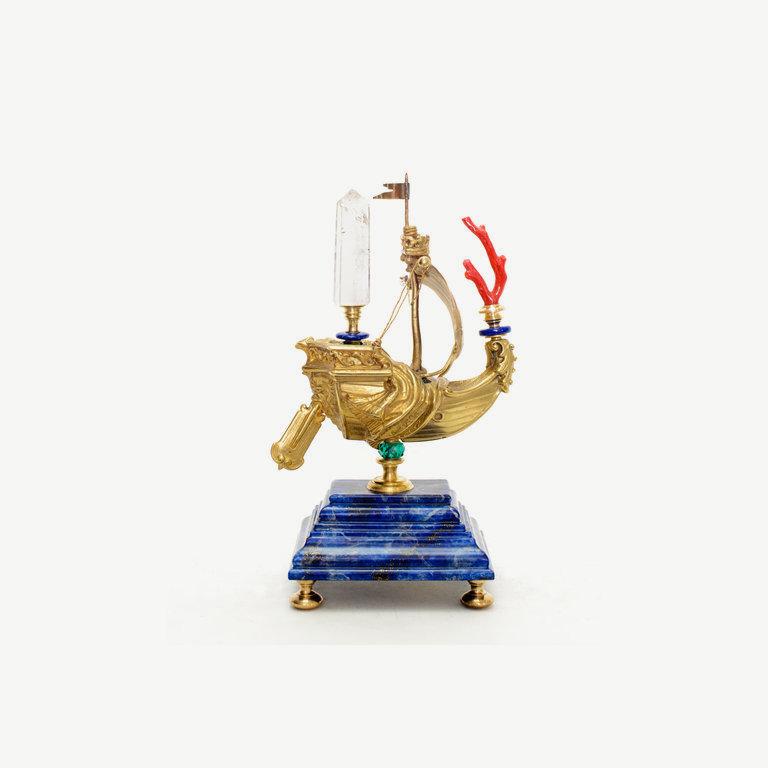 Ship, bronze, rock cristal top - 40cm