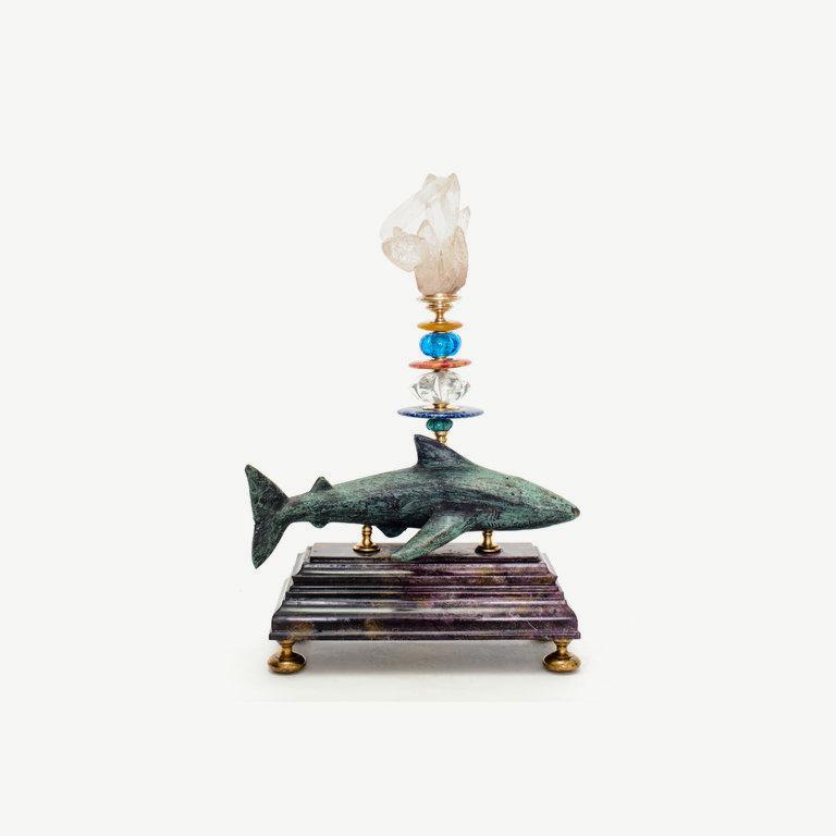 Shark, rock cristal top - 31cm