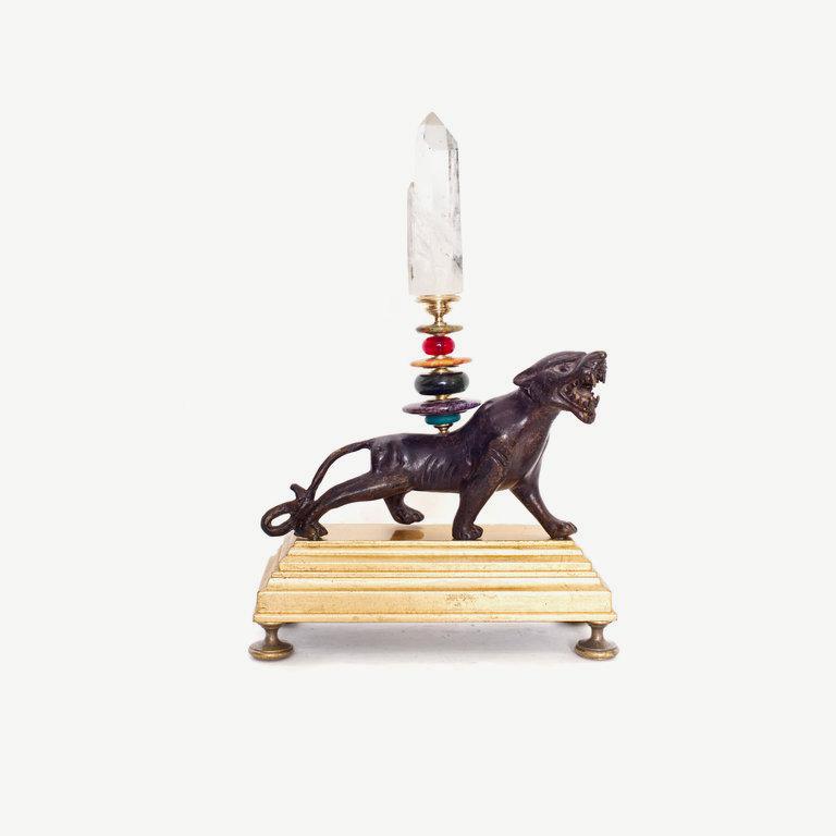 Tiger, rock cristal obelisk - 38cm