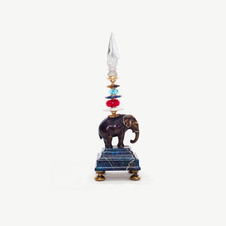 Small elefant, shaped rock cristal top - 25cm