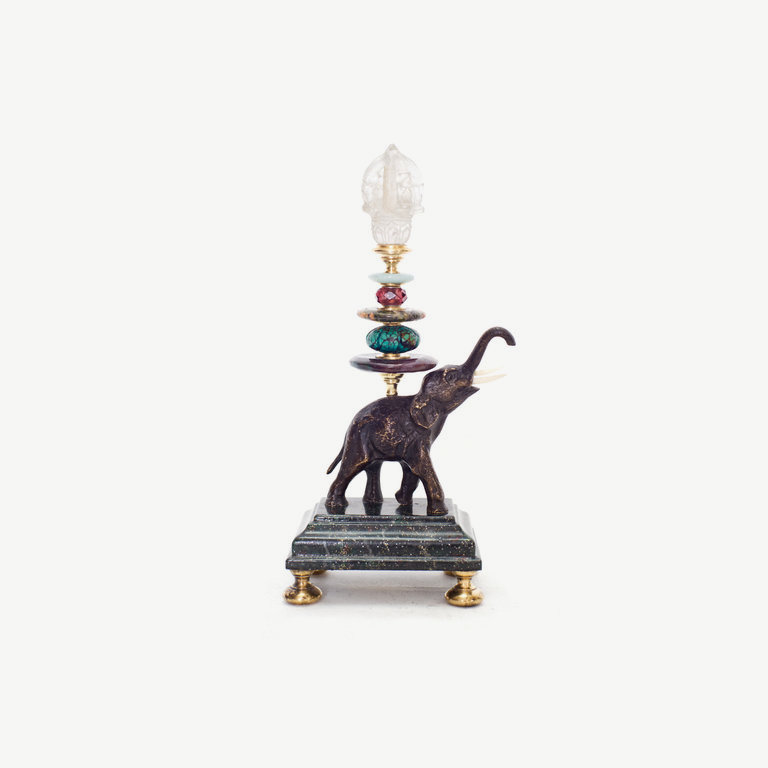 Elefant, trunk up, rock cristal pagoda - 21cm