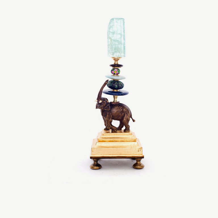 Small elefant, trunk up, gilded socle - 24cm